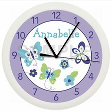 SPRING BUTTERFLY WALL CLOCK NURSERY DECOR PURPLE BABY GIRL SHOWER PERSONALIZED