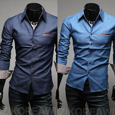 Mens Long Sleeve Luxury Casual Shirts Slim Fit Stylish Dress Shirts Solid Color