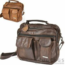LEATHER HAND LUGGAGE TRAVEL BAG MULTIPLE COMPARTMENTS TAN/BROWN