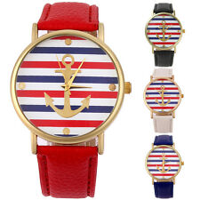Fashion Women Lady Colorful Stripe Leather Band Analog Quartz Sport Wrist Watch