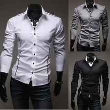 New Mens Long Sleeve Casual Slim Fit Luxury Stylish Dress Shirts 3 Colors 5 Size