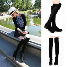 Womens Thigh High Boots Over The Knee Low Heel Designer Boots In Black Lady Shoe