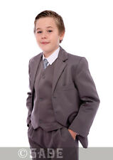 Boys Grey Suit Cheap Wedding Jacket Waistcoat Trousers Shirt & Tie 1-15 Years