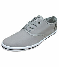 Henleys Troy Men Canvas Fashion Shoes Trainers Pumps Plimsolls Grey Black 2201