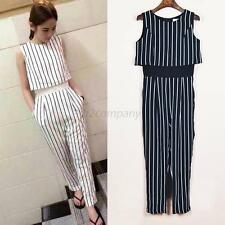 Womens Lady Lace Hollow Jumpsuit Striped Sleeveless Long Pants Romper 2 Colors