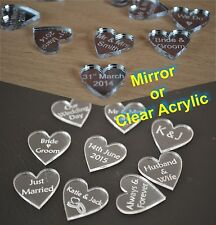 Clear Acrylic or Mirror Hearts Engraved with personal message for wedding table