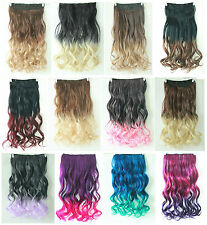 Synthetic Ombre Clip in Hair Extensions 3/4 Full Head One Piece Straight Curly