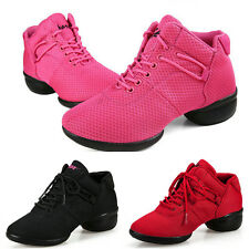 Lady's Casual Black Red Lace Up Sneakers Dancewear Jazz Hip Hop Dance Shoes