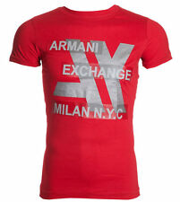 ARMANI EXCHANGE AX Mens T-Shirt MILAN NYC Slim Fit RED Casual Designer M-XL $48