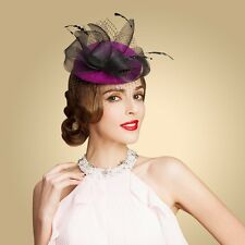 Women Feather Wool Felt Fascinator Church Party A216