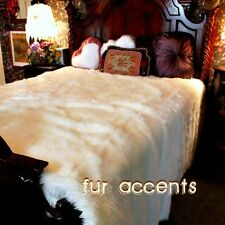 FUR ACCENTS Faux Fur Bedspread / Comforter / Throw Blanket / White Luxury Fur