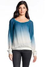 Young Fabulous and Broke Red Rock Top Blue Ombre Sheer Blouson white Long sleeve