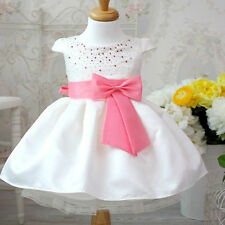 Christening Gown Wedding Prom Babys Bridesmaid Bow Girls Kids Babies Dresses