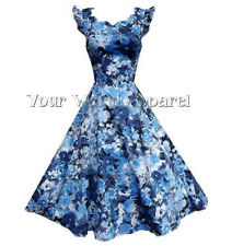 H&R BLUE FLORAL SCALLOPED DRESS PINUP COCKTAIL 50s RETRO VINTAGE PARTY HR9113BL