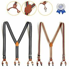 New Mens Leather Suspenders Elastic Y-Back Adjustable Belt Braces Clip-On Stripe