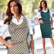 Womens Colorblock Tartan Tunic Wear To Work Business Casual Pencil Dress 865