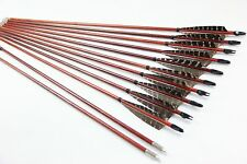 Hot X12 eagle Feather Paint Wood Arrow Hunting Archery For Longbow Recurve 11/32