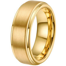 Mens Womens Tungsten Carbide Ring Gold Plated Wedding Band Ring 7 8 9 10 11 12