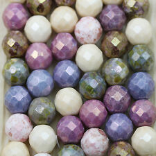 Pick Your Color!  12pcs 12mm Luster Picasso Mix Faceted Chunky Czech beads