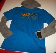 HURLEY long sleeve hoodie shirt boys youth M 10 12  L 14 16  XL18 20 gray blue