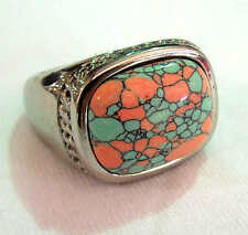 man's stainless steel two tone color turquoise ring size 9,10,11,12,13,14