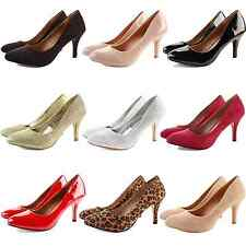 WOMENS LADIES MID HIGH STILETTO HEEL WORK BRIDAL PARTY PUMPS COURT SHOES SIZE
