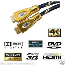 HDMI SUPER GOLD CableALL SIZES PREMIUM HD High Speed, Gold 1080p SKY PS4 XBOX 12