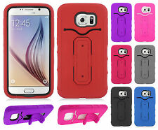 For Samsung Galaxy S6 Rubber Hybrid HARD Case Phone Cover with Snap Tail STAND