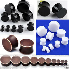 Pair 4-20mm Acrylic Double Flare Drum Saddle Solid Tunnel Ear Plug Earlet Gauges