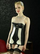 What Katie Did, Marlene Longline Girdle in red or black with vintage peach
