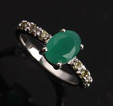 Green Emerald ROYAL Peridot Topaz Gemstones Silver Rings US#Size5 6 7 8 9 T0060