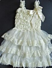 Vintage Lace Chiffon ruffle Dress Flower girl, Christening, wedding  2-7 yrs