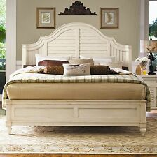 Distressed Wood Country Cottage Coastal Queen Bed Louvered Guest Room Shutter
