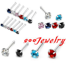 20ga Stainless Steel CZ Crystal Gem Nose Ring Bar Stud Barbell Bones Piercing