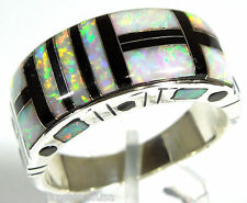 White Fire Opal and Black Onyx Inlay 925 Sterling Silver Men's Ring all sizes