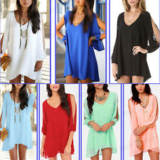 Women Beach BOHO Tops Shirt Chiffon V Neck Split Long Sleeve Loose Fitting Dress