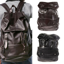 Vintage Men PU Leather Backpack Bookbags Satchel Rucksack Travel Shoulder Bag