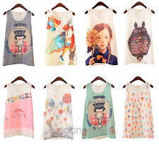 8 Styles Women Summer Vest Cat Tank Top Sleeveless T-Shirt Camisole Blouse Party