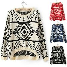 New Casual Women's Round Neck KnitwearJumper Pullover Loose Sweater Coat Tops