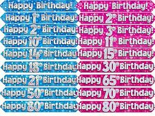 Pink or Blue Holographic Foil Birthday Age Banners ages 1 - 80 party decorations