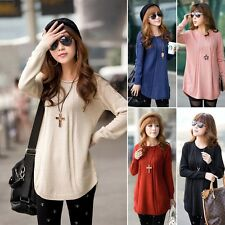 Women Round Neck Long Sleeve Knitted Pullover Jumper Loose Sweater Knitwear #C