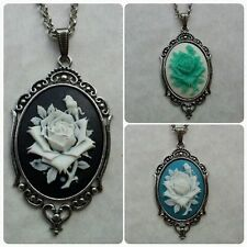 ROSE CAMEO pendant necklaces - Vintage Silver lace style setting --colour choice