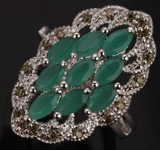 Costly Green Emerald Peridot Topaz Gemstones Silver Rings US#Size5 6 7 8 9 T0213