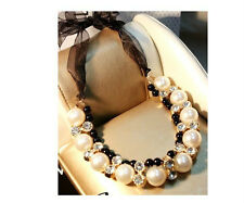 Free Ship Hot Selling New Fashion Ribbon Pearl With Crystal Bib Necklace A1614b