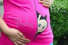 Funny peeking maternity shirt clothes pregnant blouse