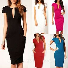 Ladies Plunge Shift Knee Length Midi Dresses Bodycon Club Bandage Dress sz 14-6