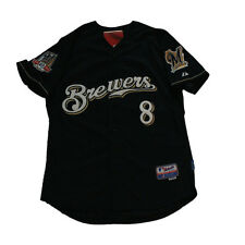 Milwaukee Brewers #8 RYAN BRAUN 40th Patch Sewn Jersey Navy XL/2XL