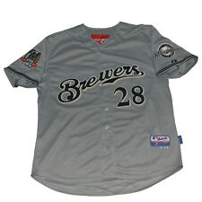 Milwaukee Brewers #28 Prince Fielder 40th Patch Sewn Jersey Gray XL/3XL