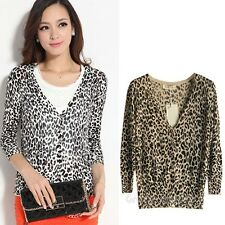 2014 Brand New Lady Leopard Elasticity 3/4 Sleeve V-neck  Knit Cardigan USWB