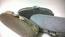 Long Handmade Oval Shaped Rhinestone Crystals HardCase Evening Clutch Party Bag